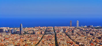 Nuit d'horizon de Barcelone Photographie stock