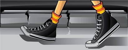 Nuit d'opérations de chaussures en caoutchouc Images libres de droits