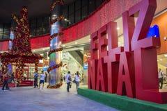 Nuit dans l'avenue de Paulista - décorations de Noël Photographie stock libre de droits