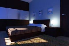 Nuit dans la chambre à coucher moderne Image stock