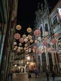 Nuit dans la rue de Porto Photographie stock libre de droits