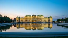 Nuit dans le jardin de belvédère à Vienne, Austia photographie stock