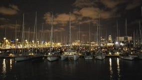 Nuit dans le port Photo libre de droits