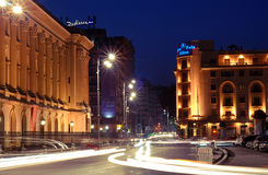 nuit de Bucarest Photographie stock