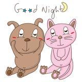 Nuit de chat de chien bonne Photo libre de droits