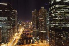 Nuit de Chicago Photos stock