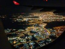Nuit de ciel de Turkish Airlines de turkie d'avion images libres de droits