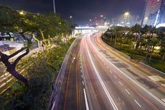 Nuit de circulation de Hong Kong Photos stock