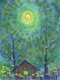 Nuit de clair de lune d'hiver La pleine lune est au-dessus de la maison illustration stock