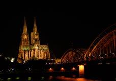 nuit de cologne Photographie stock libre de droits