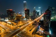 Nuit de commerce international de Pékin CBD Photographie stock libre de droits
