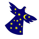 Nuit de femmes avec les ailes, la lune et les étoiles Image tirée par la main de vecteur Photos libres de droits