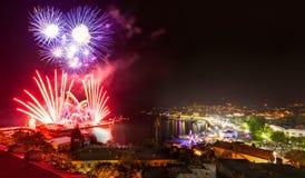 Nuit de feux d'artifice à Yalta crimea Photographie stock libre de droits