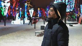 Nuit de Guy Considers Holiday Illumination At d'Indien en parc clips vidéos