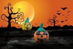 Nuit de Halloween avec de la pâte à modeler sur le fond de lune Image libre de droits
