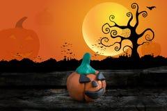 Nuit de Halloween avec de la pâte à modeler sur le fond de lune Illustration Stock