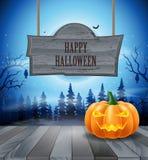 Nuit de Halloween avec des potirons Photos stock