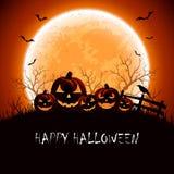 Nuit de Halloween avec des potirons Photographie stock libre de droits
