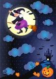Nuit de Halloween avec la vieux sorcière, château et potiron Photographie stock