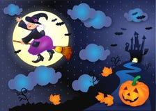 Nuit de Halloween avec la vieux sorcière, château et potiron Image stock