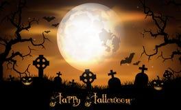 Nuit de Halloween avec le potiron sur le cimetière Photographie stock libre de droits