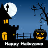 Nuit de Halloween - Chambre hantée par potiron Images libres de droits