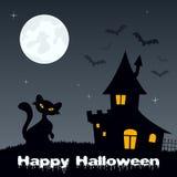 Nuit de Halloween - chat et Chambre hantée Images stock