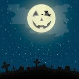 Nuit de Halloween dans le cimetière Photos stock