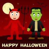 Nuit de Halloween - diable rouge et Frankenstein Images stock