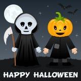 Nuit de Halloween - faucheuse et épouvantail Images stock