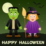Nuit de Halloween - Frankenstein et sorcière Photo stock