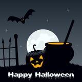 Nuit de Halloween - pot et potiron magiques Photographie stock