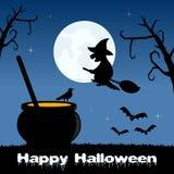 Nuit de Halloween - pot et sorcière magiques Photographie stock