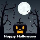 Nuit de Halloween - potiron, arbres et lune Photos libres de droits