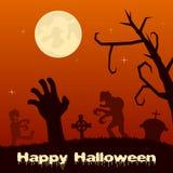 Nuit de Halloween - zombis et main de zombi Photos stock