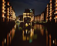 nuit de Hambourg Photos stock