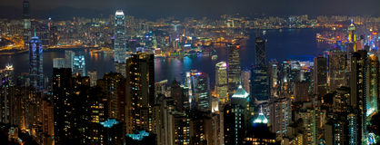 Nuit de Hong Kong Photo stock