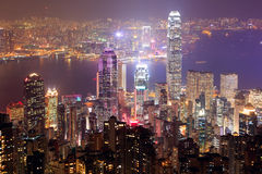 Nuit de Hong Kong Photos stock