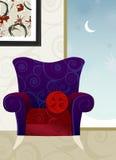 Nuit de l'hiver de fauteuil de velours   Photos stock