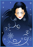 Nuit de l'hiver de fille Photos libres de droits