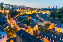 Nuit de la ville du Luxembourg Image libre de droits