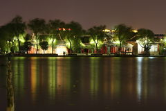 Nuit de lac DaMing Photographie stock libre de droits