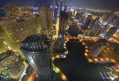 nuit de marina du Dubaï Photos stock