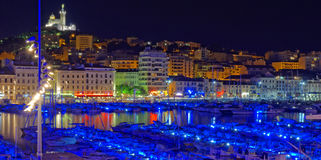 Nuit de Marseille Photos stock