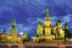 Nuit de Moscou Photo stock