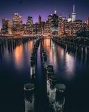 Nuit de New York City images libres de droits