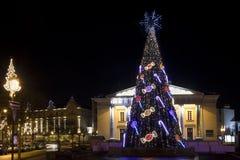 Nuit de Noël dans la vieille ville Photographie stock libre de droits