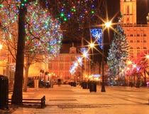 Nuit de Noël dans la ville Photographie stock