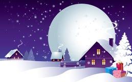 Nuit de Noël dans le village Images stock