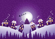 Nuit de Noël violette Photo stock